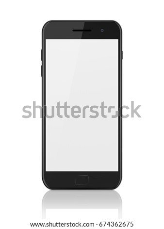 Modern black smartphone with blank screen. Generic mobile smart phone with reflection on white background, 3d render. High resolution.