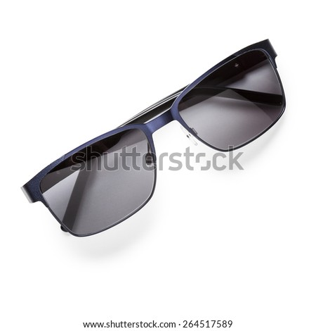 Modern black sunglasses isolated on white background - stock photo