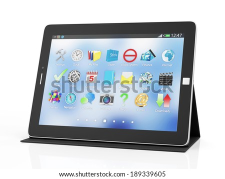 Modern Black Tablet PC on Stand isolated on white background - stock photo