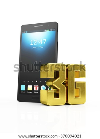 Modern Black Touchscreen Smart Phone with Golden 3G Symbol of Standard Wireless Communication isolated on white background - stock photo