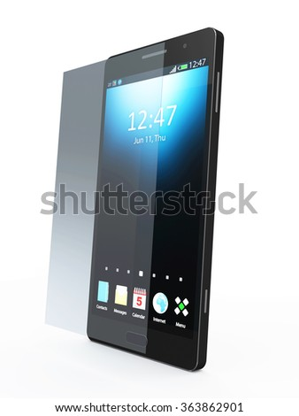 Modern Black Touchscreen Smart Phone with Screen Protector isolated on white background