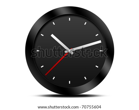 Modern Black wall clock - stock photo