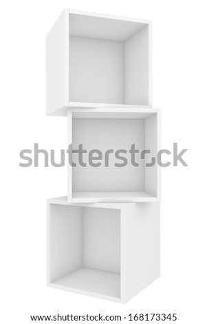 modern blank bookshelf. 3d render on white background. - stock photo