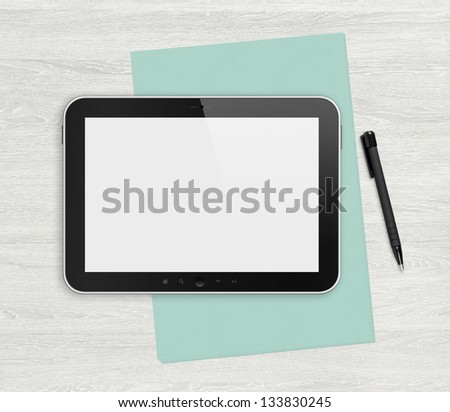 Modern blank digital tablet, papers and pen on a blank wooden desk. Top view. High quality detailed graphic collage. - stock photo