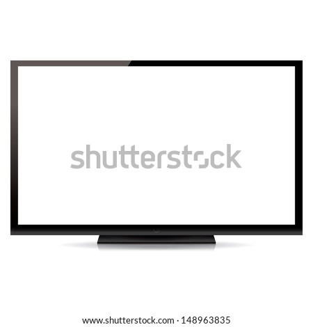modern blank flat screen tv isolated on white background - stock photo