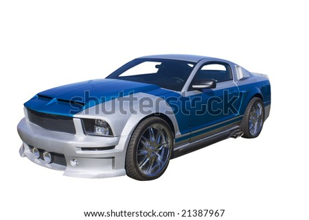 modern blue and silver muscle car isolated on white - stock photo