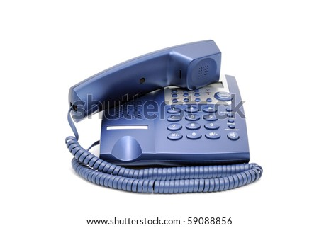 Modern blue business office telephone isolated on a white background. - stock photo