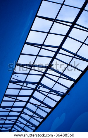 modern blue ceiling in the office - stock photo