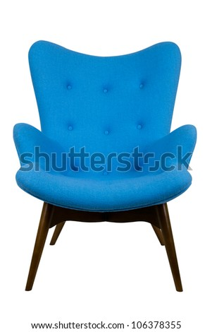 modern blue chair in scandinavian style - stock photo