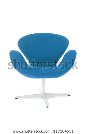 modern blue chair isolated on white background - stock photo
