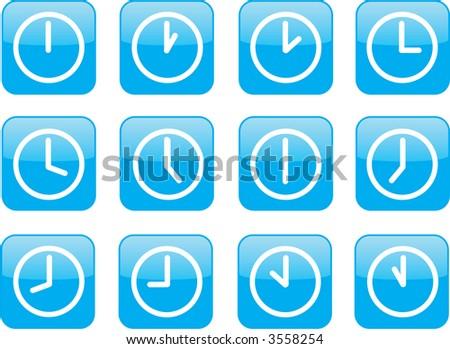 modern blue clock icons - stock photo