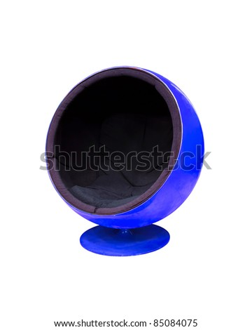 Modern blue cocoon ball chair isolated on white background - stock photo