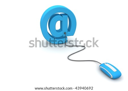 modern blue computer mouse connected to the blue AT e-mail symbol