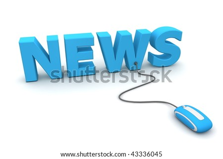 modern blue computer mouse connected to the blue word News - stock photo
