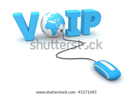 modern blue computer mouse connected to the blue word VoIP - the letter O is replaced by a globe - stock photo