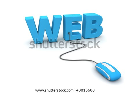 modern blue computer mouse connected to the blue word Web