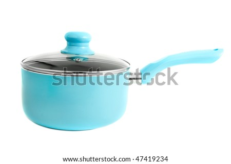 Modern blue cooking stainless steel pot isolated on a white background - stock photo