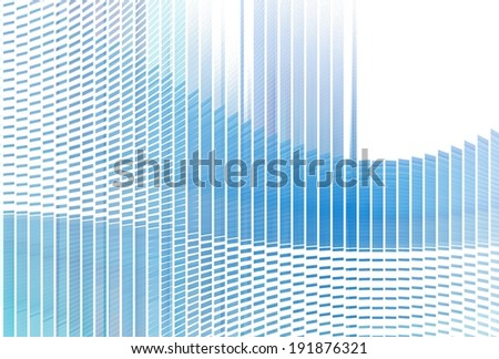 Modern blue geometric wave form design on white background - stock photo