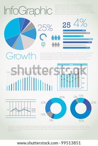 Modern blue infographic - stock photo