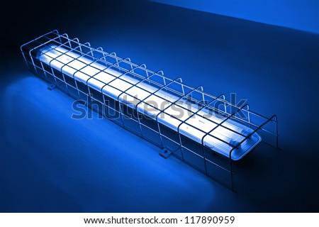 modern blue neon power lamp, energy details - stock photo