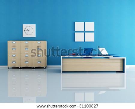 modern blue office interior - rendering - stock photo