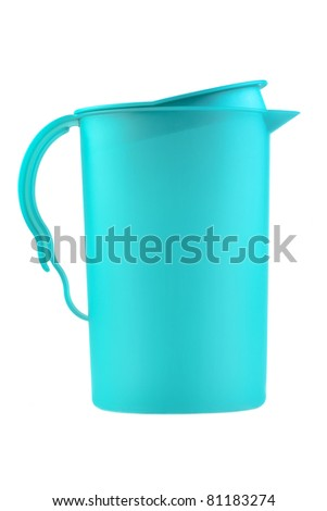 modern blue plastic pitcher isolated on white background - stock photo