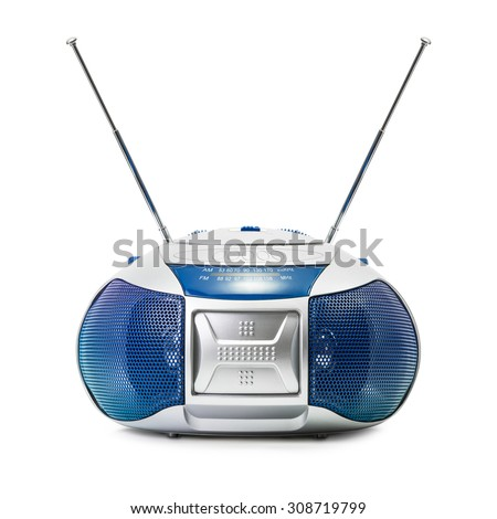 Modern blue radio in ant head shape isolated on white background - stock photo