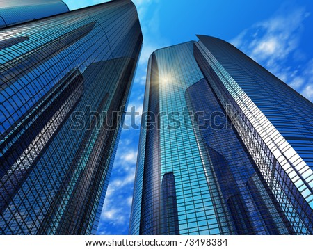 Modern blue reflective office buildings - stock photo