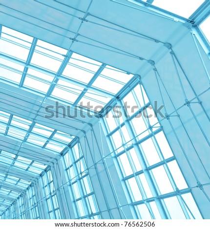 modern blue roof inside office center - stock photo