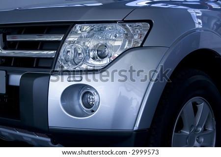 Modern blue shining car - stock photo