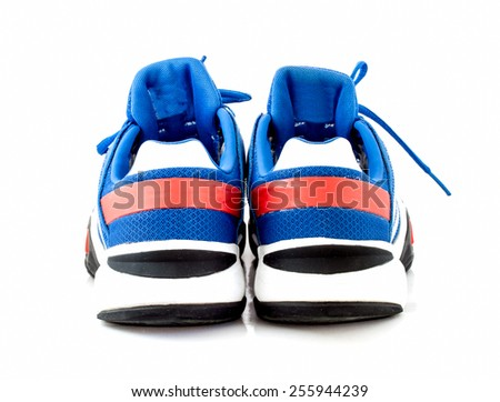 modern blue sport shoes on white background, back view - stock photo