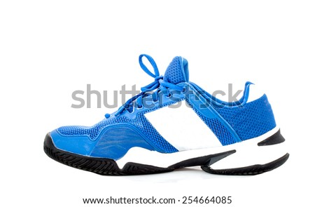 modern blue sport shoes on white background, side view - stock photo