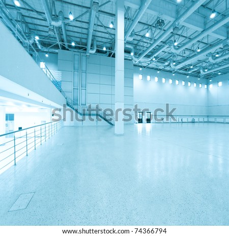 modern blue store inside office center - stock photo