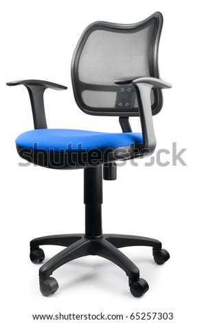 Modern blue swivel chair isolated on white - stock photo
