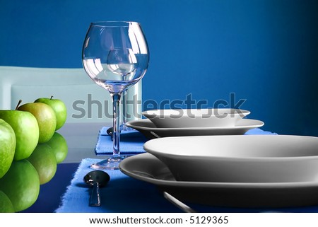 Modern blue Table Setting - stock photo