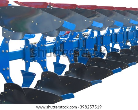 modern blue tractor plow row abstract isolated over white background - stock photo