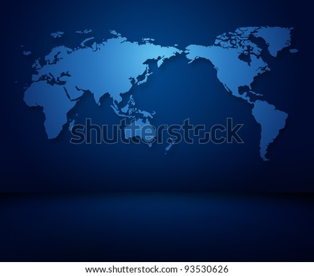 Modern blue world map of wallpaper in a dark modern room - stock photo