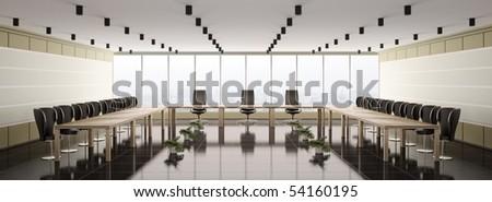 Modern boardroom interior panorama 3d render - stock photo