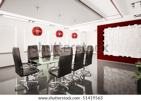 Modern boardroom with glass table interior 3d - stock photo