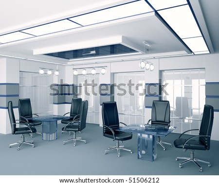 Modern boardroom with glass tables interior 3d
