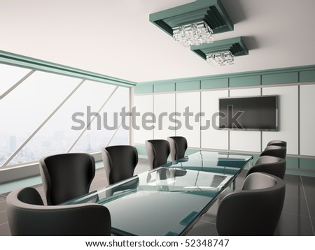 Modern boardroom with lcd and glass table interior 3d - stock photo