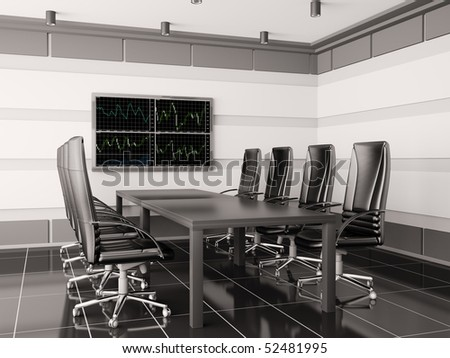 Modern boardroom with lcd interior 3d render - stock photo