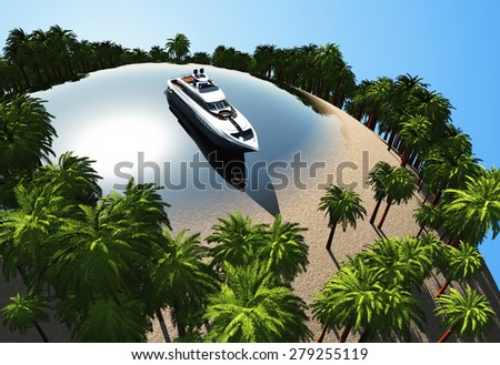 Modern boat in the lake on the globe. - stock photo