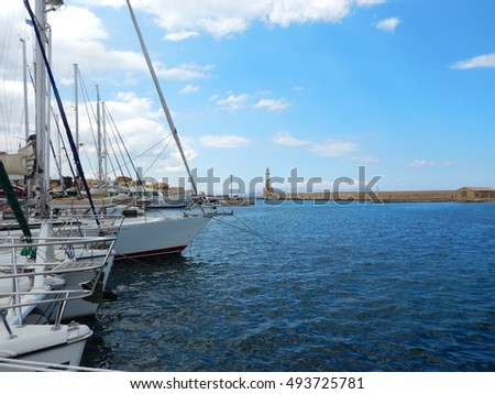 Modern boats at the Venetian port of Hania, Crete, Greece