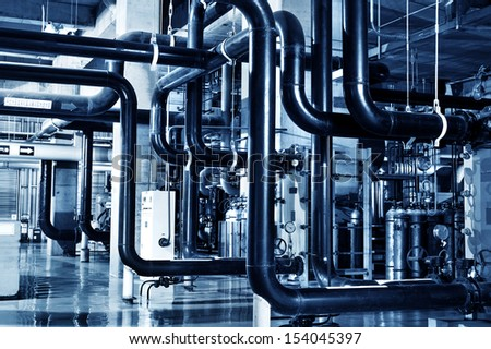 Modern Boiler Room Equipment Heating System Stock Photo