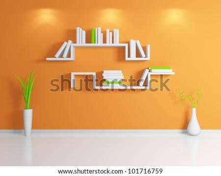 Modern bookshelf.3d rendered. - stock photo