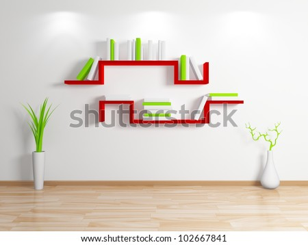 Modern bookshelf.Isolated on white background.3d rendered. - stock photo