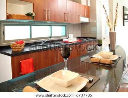 modern brand new house kitchen - stock photo