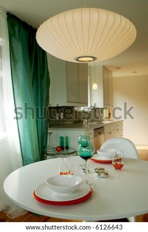 Modern breakfast nook in new house - stock photo