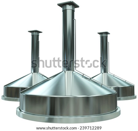 modern brewery, stainless steel tanks, 3d render isolated on white - stock photo